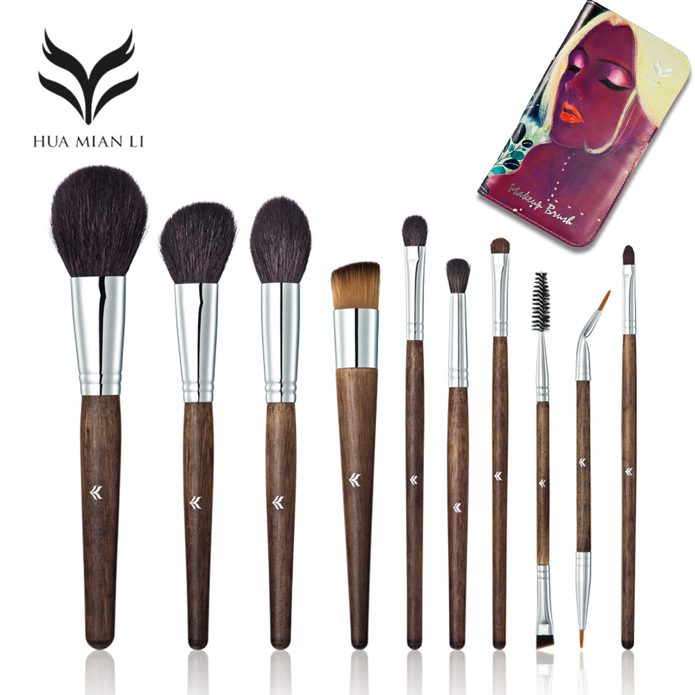 HUAMIANLI Best Quality Make Up Brush Animal Hair Wood Handle Tubes Full Professiona Soft Make Up Brush Set+ Brush Bag shure a27sm