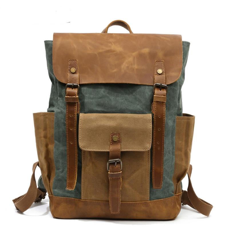 Retro Contrast Oil Wax Waterproof Canvas Bag Travel Backpack Computer Schoolbag Large Capacity Women Backpack 2