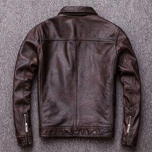 Image 4 - MAPLESTEED ヴィンテージ黒本物の革のジャケット男性 100% 天然カーフスキン赤茶色のレザージャケット男性の革のコートの秋 m174