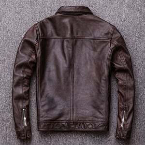 Image 4 - Maplesteed jaqueta de couro vintage masculina, casaco de couro vintage preto de panturrilha natural, vermelho, marrom, outono 100% m141