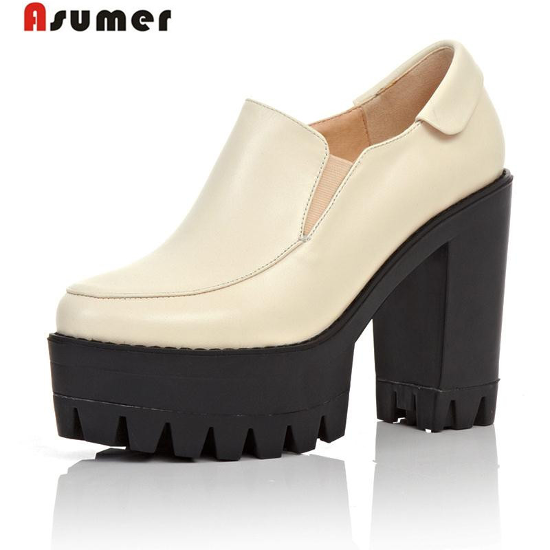 Asumer hot sale women pumps fashion round toe high quality genuine leather platform shoes thick high heels shoes woman hot sale square toe full genuine leather charm design platform women pumps platform fashion casual party shoes ladies shoes