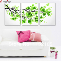 CLSTROSE Grande Verde Ramo di Un Albero Immagine Pittura Su Tela 3 Pezzi Moderna Tela Wall Art For Living Room Home Decor