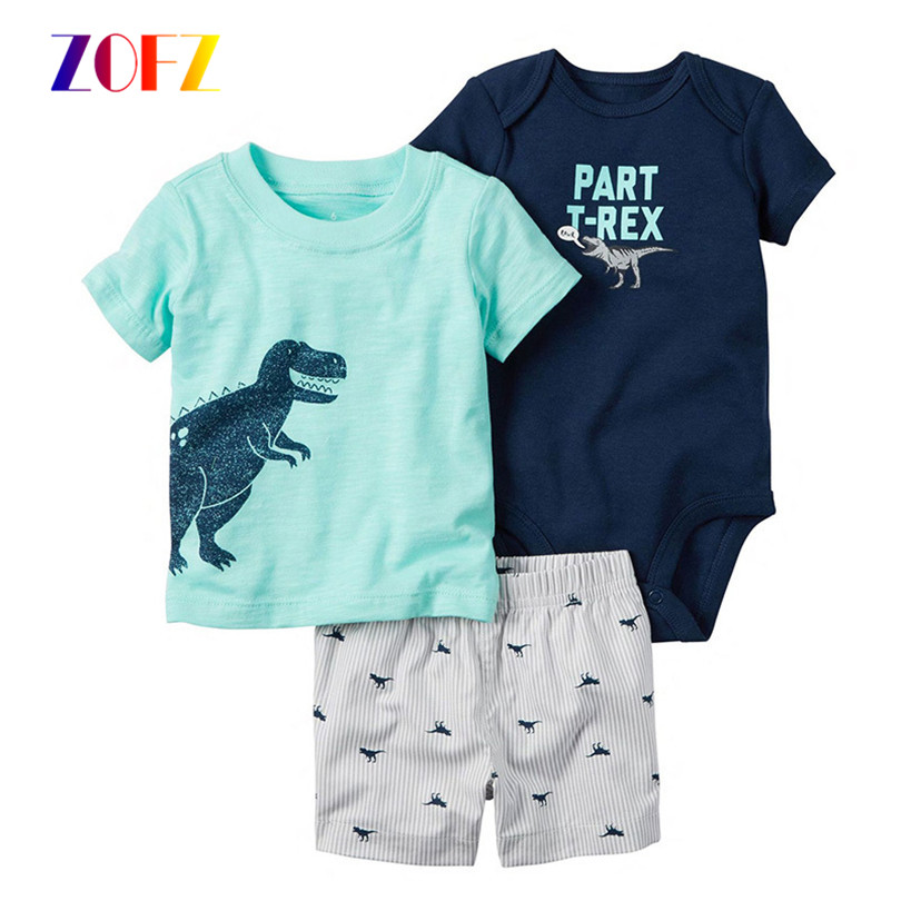 ZOFZ Baby Boy Clothes 3pcs/Set Print Cotton Baby Clothing Fashion Baby Rompers with Short Pants and T-shirt for Newborn Bebes