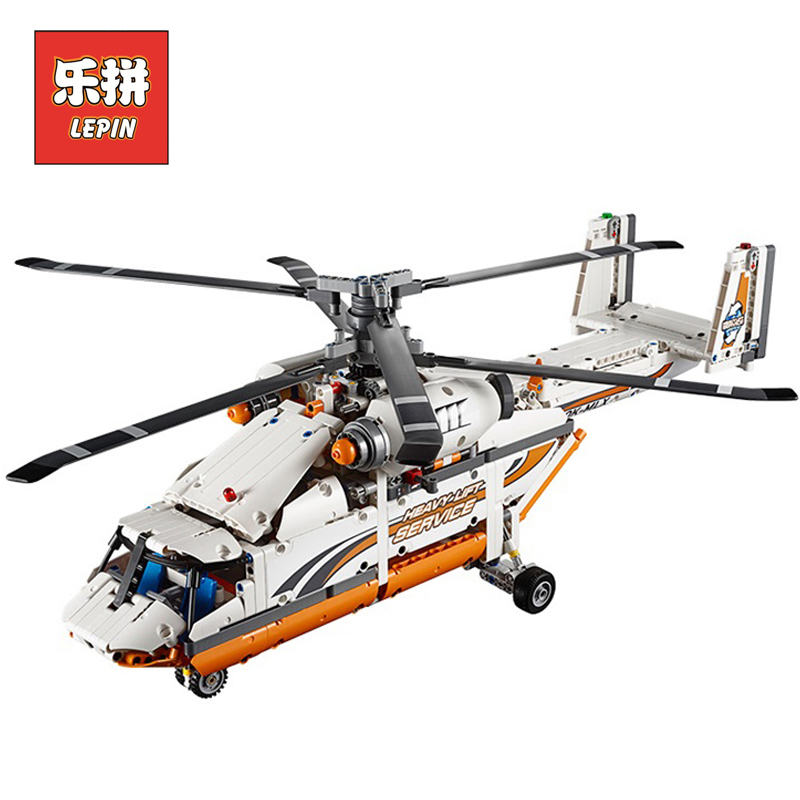 LEPIN 20002 technic series Double rotor transport helicopter Model Building blocks Bricks Compatible LegoINGlys 42052 Boy toys new lepin 20002 technology series mechanical group high load helicopter blocks compatible with 42052 boy assembling toys