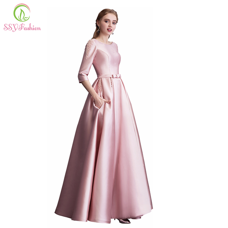 Clearance Pink Satin Long Evening Dress Simple Half Sleeved Floor length Beading Party Gown Formal Dresses