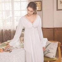 Elegant High Waist White Sleepwear Women Nightgowns Long Sleeve V Neck Night Wear Sleep Shirt Vintage Lace Home Dress Ladies