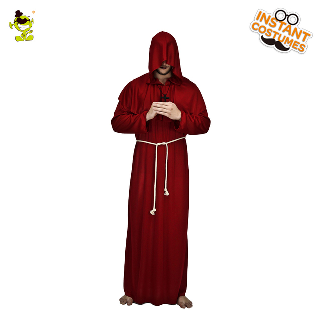 Adult Men s Friar Tuck Halloween Costume Cosplay Carnival Party Long Robe  Fancy Dress Halloween Party Role Play Tuck Costumes 4b8ebd175