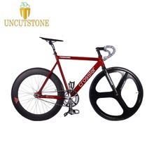 купить Track Bike  fixie bicyle frame 53cm 55cm 58cm  DIY 700C Aluminum alloy fixed gear bike with 3 Spoke wheel rim carbon fork по цене 29243.91 рублей
