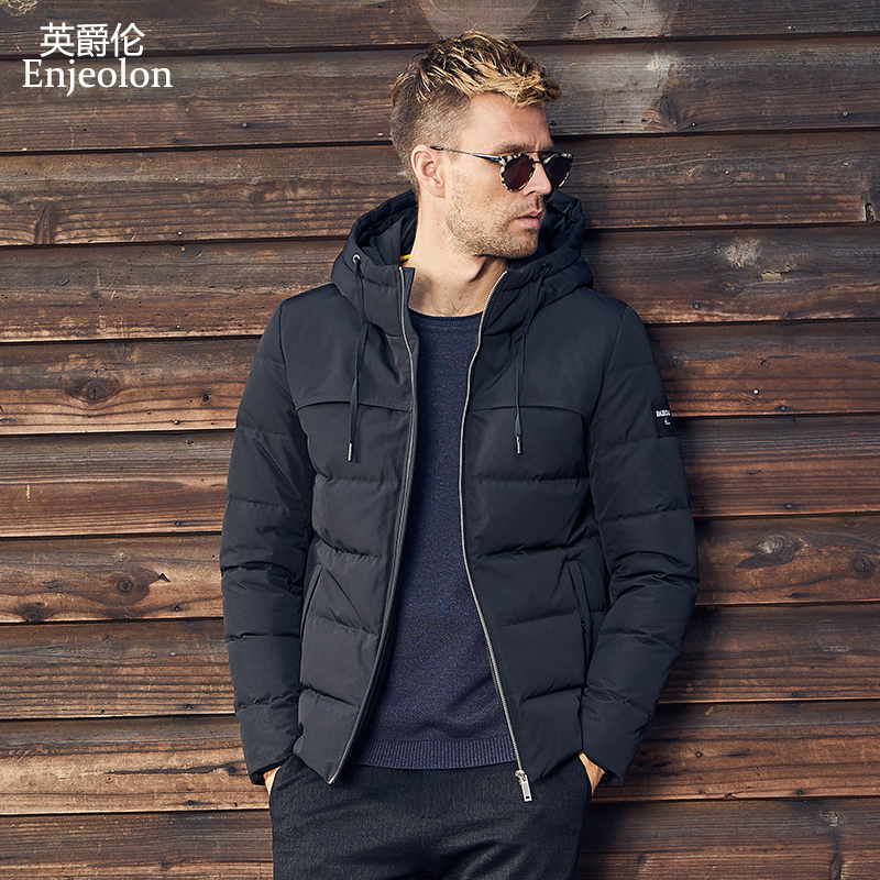 Enjeolon Brand Thicken Winter Down Hooded Jacket Men Light Down Coat For Men Hoodies Parka Coat 3XL Down Parka Male YR0130