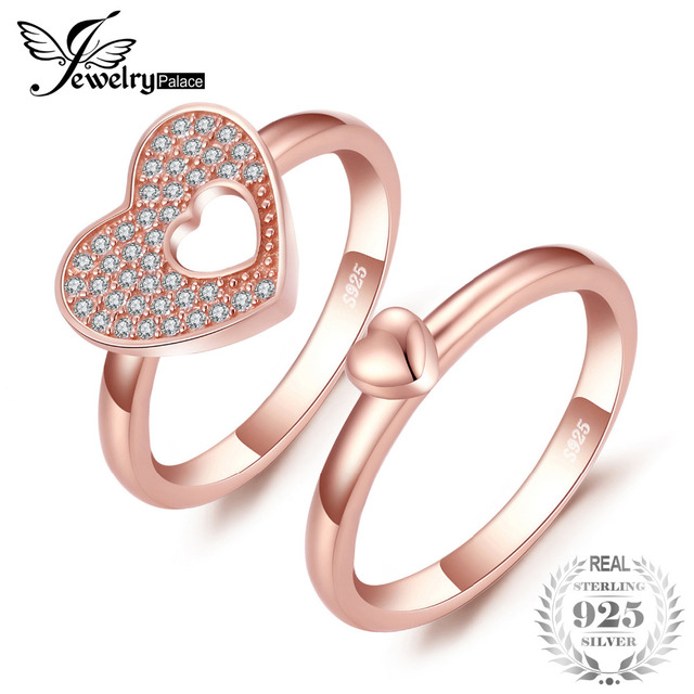 Jewelrypalace 925 Sterling Silver Rings Double Hearts Rose Gold Color Cubic Zirc