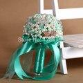 Hand-Made Top-качество Роскошная Брошь Свадебный свадебный букет невесты горничная стразы blue ribbon камень Искусственный цветок 8576 Г