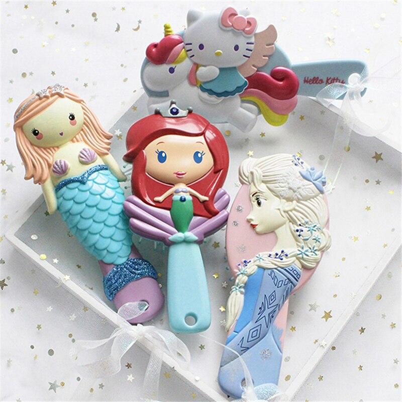 Frozen Elsa Mermaid Ariel Unicorn Hello Kitty Kid Hair Brush Comb Anti Static Air Cell Hairbrush Cartoon Massage Tool Q Cute
