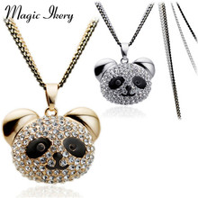 Magic Ikery High Quality  Rose Gold Double Long Chain Rhinestone Bear Black Panda Animal Necklace Women Jewelry MKL2980