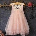 Летнее платье 2016 девушки одеваются новый бесплатная доставка для 2-13 лет лук цветочные Девушки Принцесса Партия Лук Дети вечернее Платье