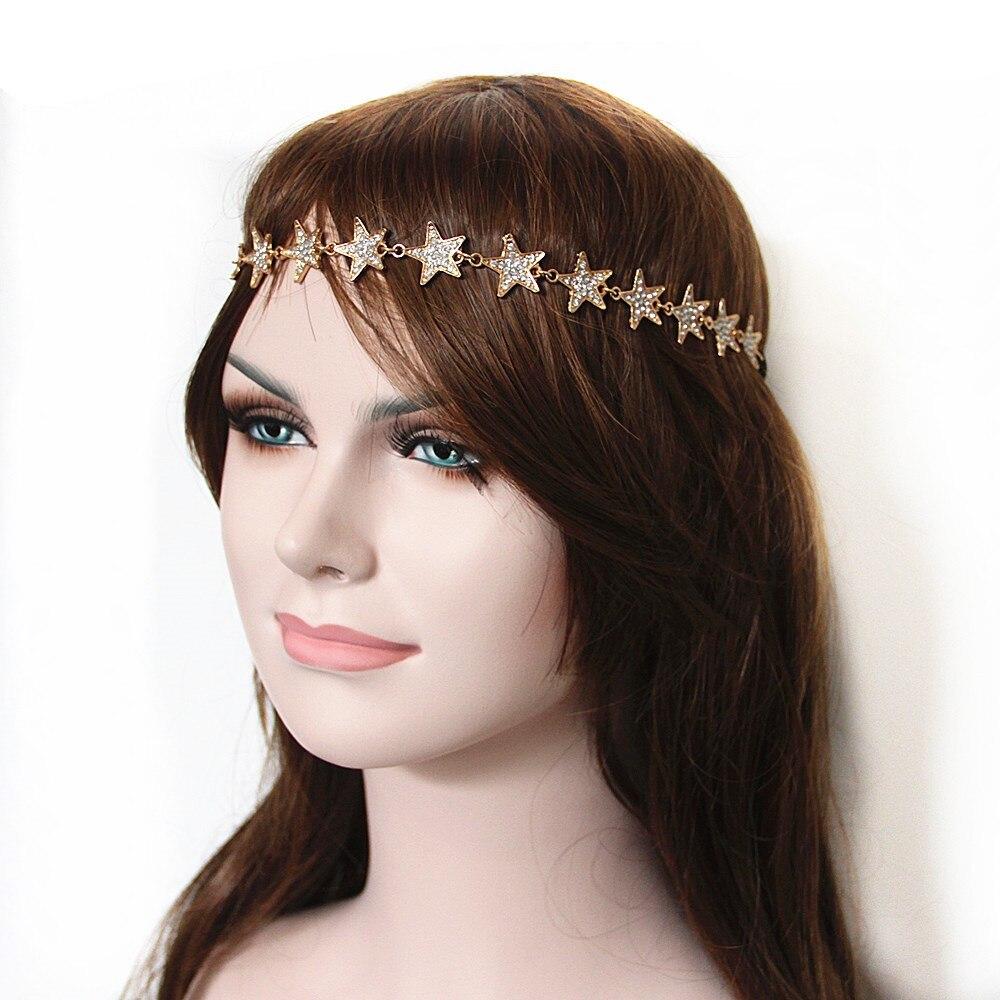 luxury full rhinestone head chain hair jewelry pentagram