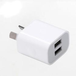 Au plug carregador de celular com duas portas usb, adaptador de saída de energia dc 5v 2a para celulares iphone, ipad, samsung htc telemóvel tablet pc