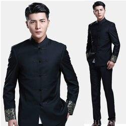 Chinesischen stil hochzeit bräutigam Tang anzüge männlich stehen kragen tunika Kleidung schlank frühjahr herbst Chinesischen Traditionellen Zhong Shan Anzug