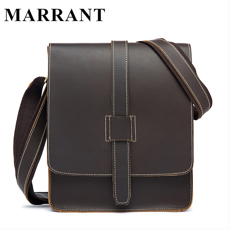 ФОТО MARRANT Genuine Leather Men Bag Vintage Crazy Horse Business Men Messenger Bags Small Shoulder Crossbody Bags Leather Handbags