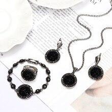 1 комплект, Винтаж, серебро, стразы, ожерелье, серьги, браслет, кольцо, набор, Богемия, черный, сломанный камень, Свадебные Ювелирные наборы для женщин