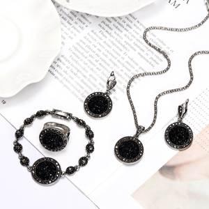 Ring-Set Bracelet Rhinestone ZOSHI Silver-Color Black Vintage Women for 1set