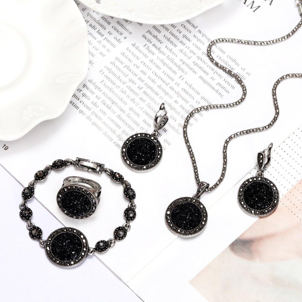 1 Set Vintage Rhinestone Necklace Earrings Bracelet Ring Set Bohemia Black Broken Stone Wedding Jewelry Set Wedding Jewelry Set