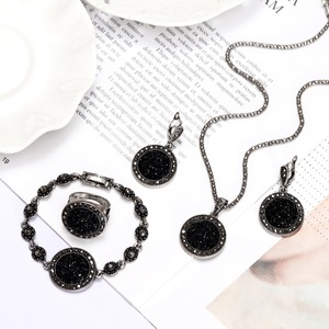 1 Set Vintage Silver Color Rhinestone Necklace Earrings Bracelet Ring Set Bohemia Black Broken Stone Wedding Jewelry Sets Women(China)