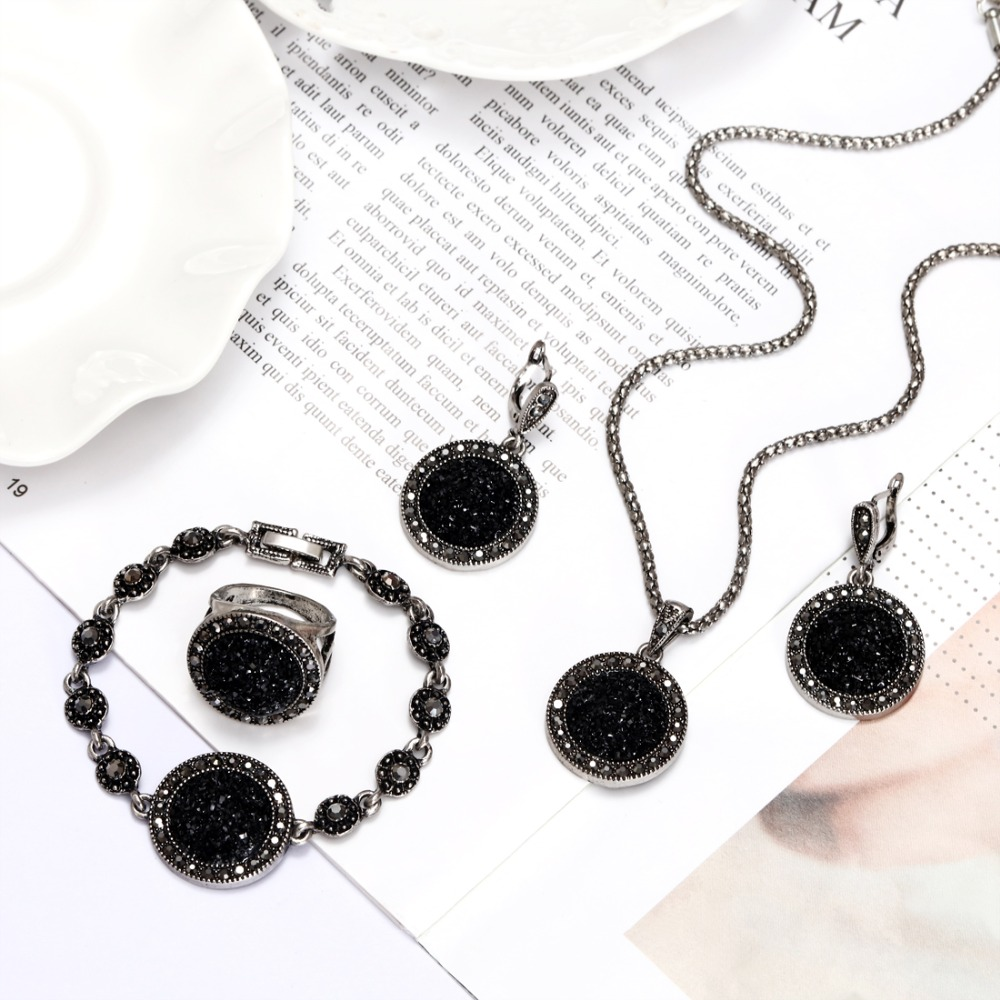 ZOSHI 1Set Vintage Silver Color Rhinestone Necklace Earrings Bracelet Ring Set for Women Black Broken Stone Wedding Jewelry Sets