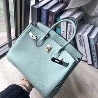 Luxury Genuine Leather Women's Handbag High Quality Real Leather Bag Top handle bag Classic Shoulder Bag Mint Green Color