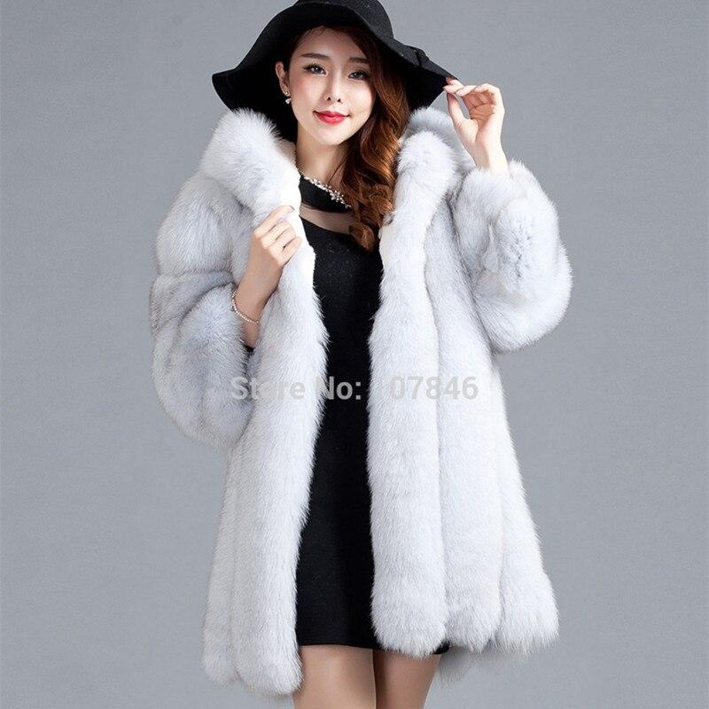 Роскошные Леди натурального меха лисы пальто куртки 3/4 хлопок подкладка с капюшоном 3XL зима Для женщин меха Тренч Верхняя одежда Пальто 3XL ...