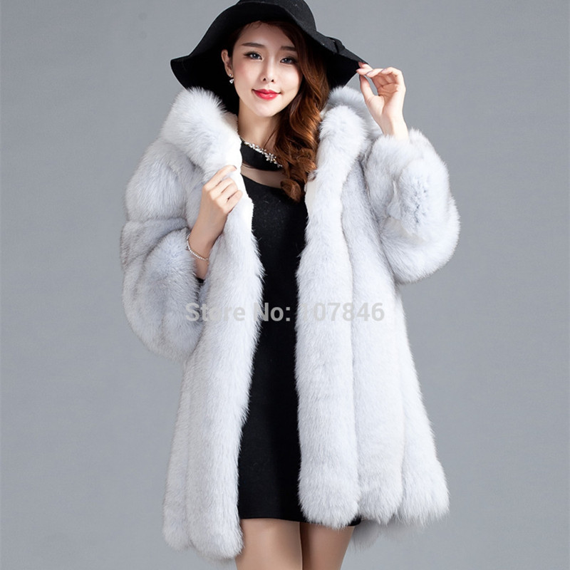 Luxury Lady Genuine Fox Fur Coat Jacket 3/4 Cotton Lining Hooded 3XL Winter Women Fur Trench Outerwear Coats 3XL VK1488