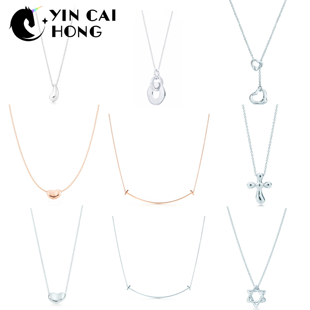 3b7b56675b5 YCH Charm Gift 925 Sterling Silver Water Drop Pea Pendant Tiff Necklace  Cross Smile Sun Necklace