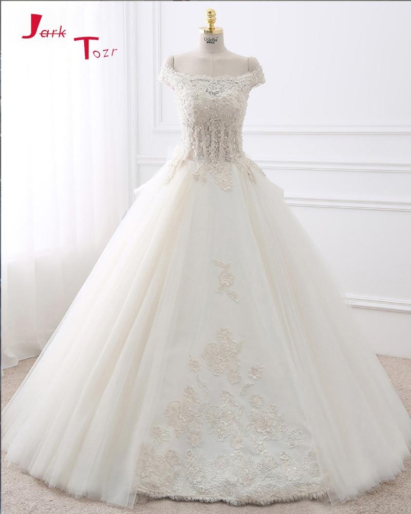 Jark Tozr 2017 New Gorgeous White Ball Gown Wedding Dresses Turkey Vestido De Noiva Customize Appliques Honorable Bridal Gowns