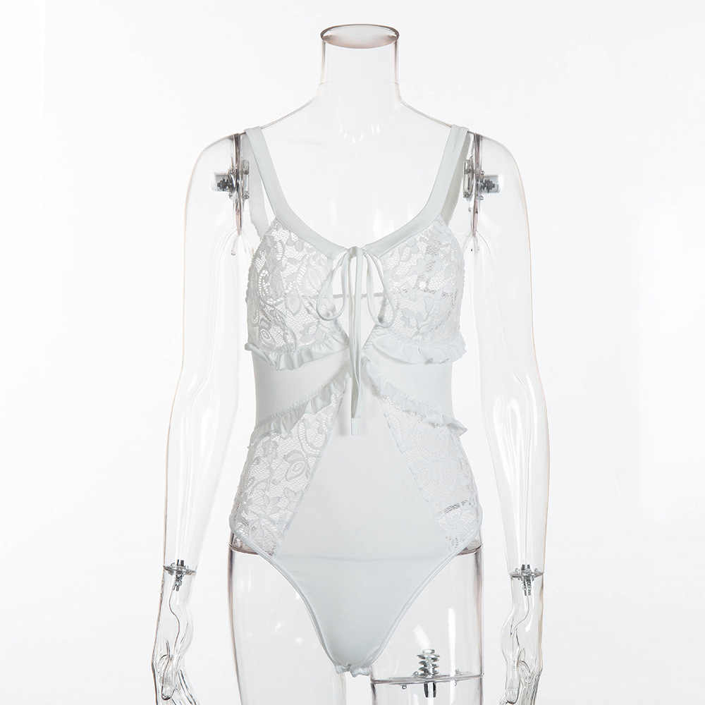 Mùa xuân Jumpsuit Ren Bodysuit Phụ Nữ Ruffle Đen Trắng Sexy Dây Đeo Cơ Thể Không Tay Rompers Nữ Quần Yếm Combinaison Femme Mỏng