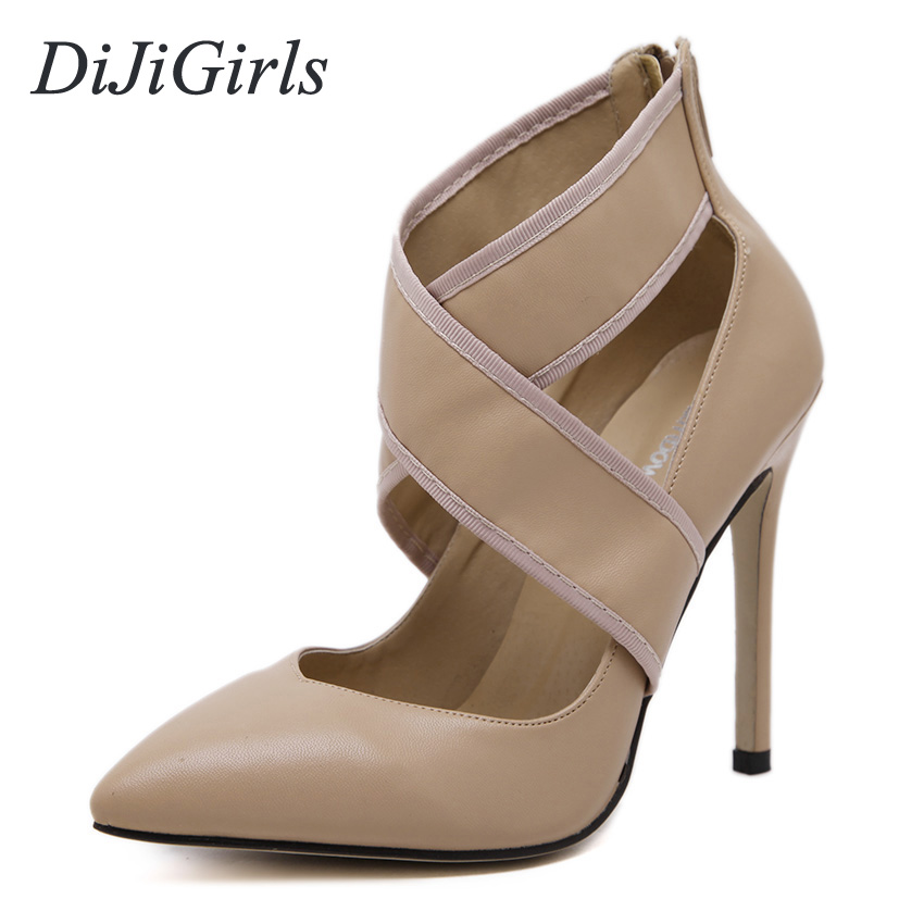 DiJiGirls New Women's sexy high heels Pointed Toe sandals celebrity Cut-Outs pumps shoes woman Black Beige US5-9 2016 hot sale new brand womens high heels sandals summer breathable fashion rivets sexy pointed toe female cut outs casual shoes