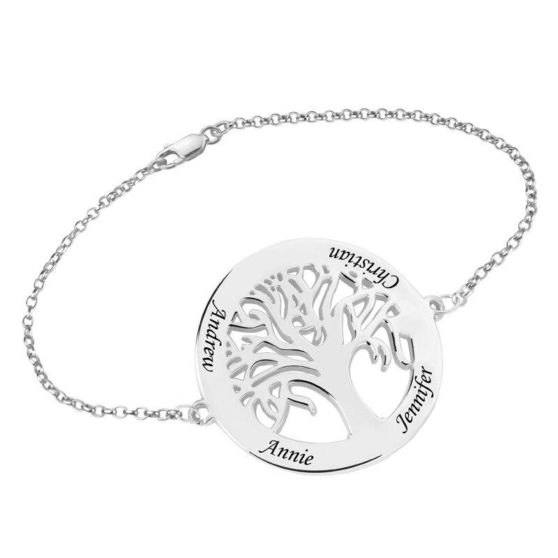 Femmes Personnalisé Nom Famille Arbre de Vie Bracelet Sterling Argent 925 Personnalisé Lettre Bracelets Pulsera Bijoux cadeaux pour Femmes