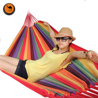 High Strength Portable Hammock 2 Person Mother Child Woven Cotton Fabric Lattice Striped