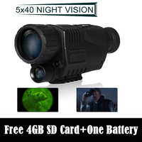 Free Shipping 5X40 Digital IR Night Vision Monocular 200m Range Takes Photo Video Free 4GB DVR
