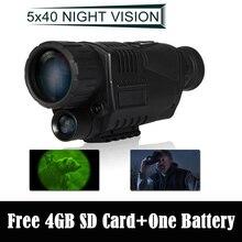 ¡ Envío Gratis! WG-37 Táctico Digital IR Infrarrojos de Visión Nocturna Monocular Alcance 200 m 5X40 Zoom DVR Record + Free 4 GB SD Card + Una Batería
