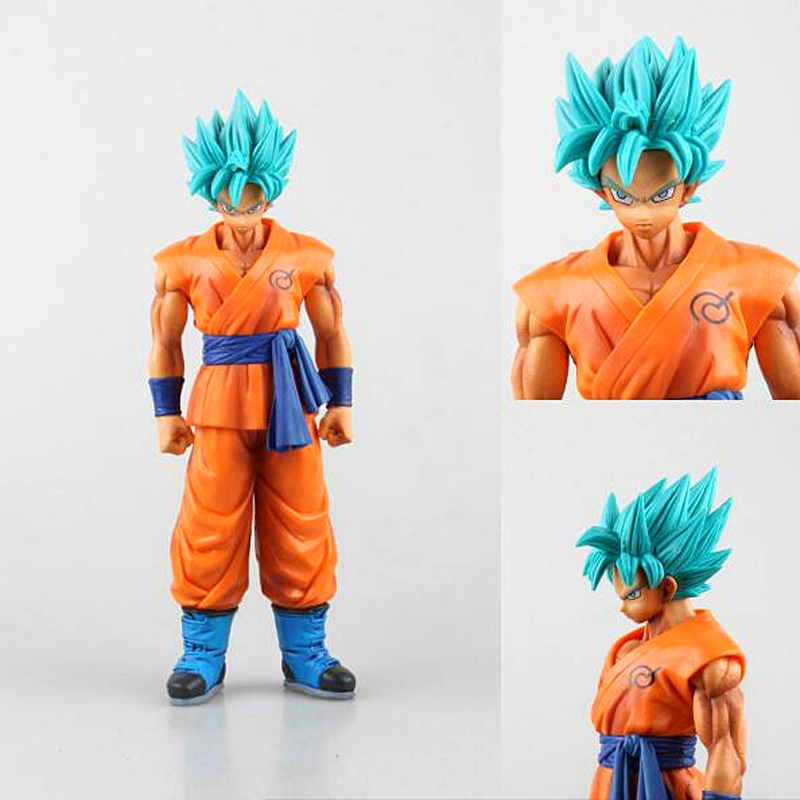 Dragon Ball Z Son Goku Super Saiyan God Blue Hair Model Toys 25CM DragonBall Collectible Model Toy Doll Figuras Free Shipping 10pcs set nylon headband for baby girl hair accessories elastic head band kid children fashion headwear