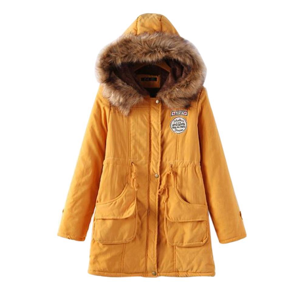Yiwa Women's Winter Warm   Parka   Outwear Fluffy Collar Hooded Long Jacket Thicken Coat Short Women Coat Long Sleeve Outerwear