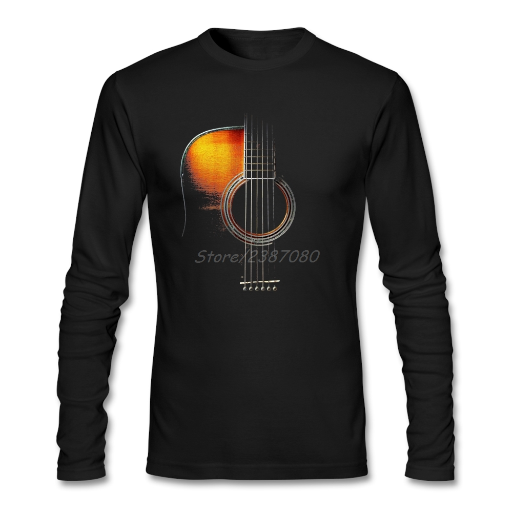 Colour Acoustic Guitar T Shirt Long Sleeve Brand-clothing Hip Hop Camiseta Masculina Cotton  3d T Shirts