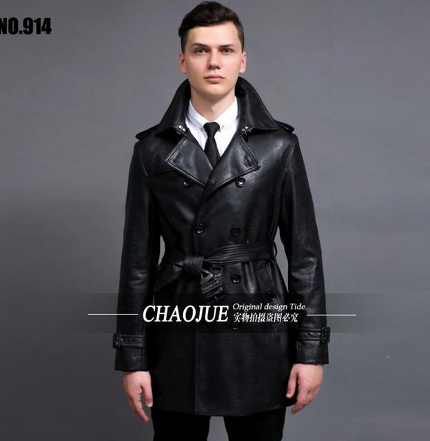 S-6XL 2017 spring Men's brand fashion slim leather trench coat medium-long PU leather coat Men's overcoat leather clothing !