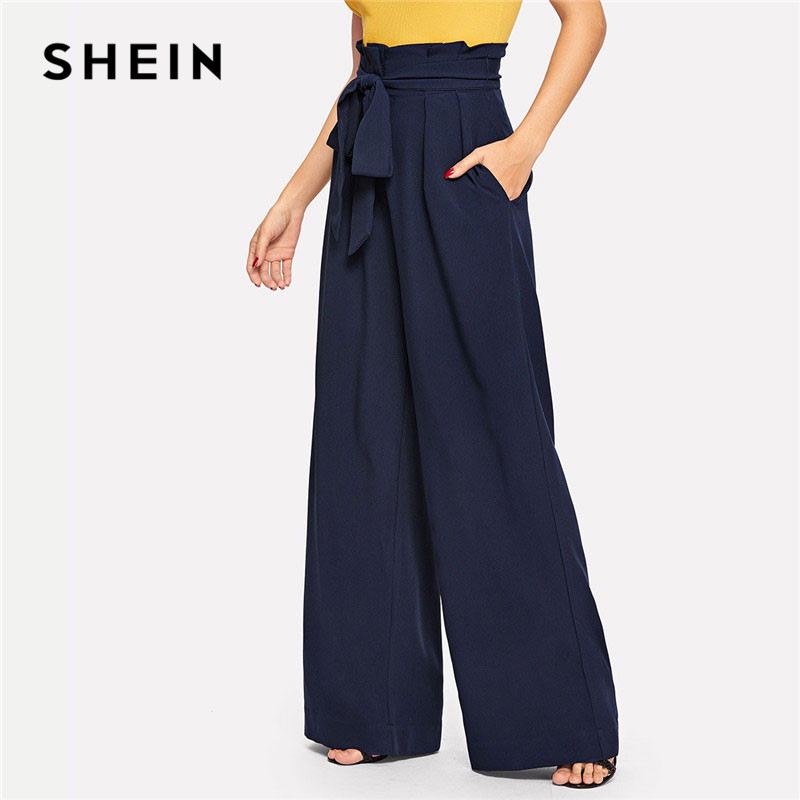 SHEIN Navy Paperbag Waist Pocket Wide Leg Pants Casual Elastic High Waist Belted Trousers Women Long Pants For Spring 1