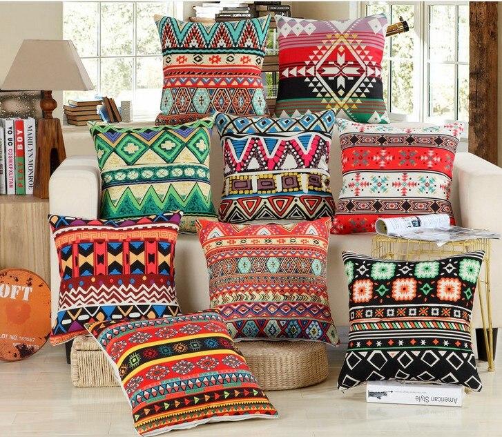 Bohemian Geometric stripe pattern Cushion cover Vintage Linen Cotton Throw Pillow Cover Sofa Home cushion Covers 45x45cm B101
