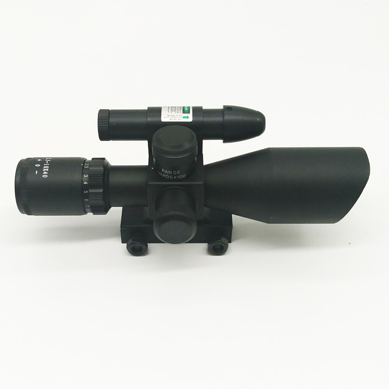 2.5-10x40 Tactical Rifle Red Green Mil-dot Scope Green Laser Sight with 11mm 20mm Free Rail Mount set cable tv f head do line tool extrusion f joints 75 5 stripping knife and 10 metric f head connector plug boosters