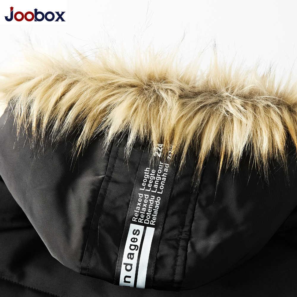 JOOBOX 2018 зимняя куртка теплые куртки пальто Мужская высококачественная черная утепленная одежда мужские повседневные приталенные куртки на молнии с капюшоном