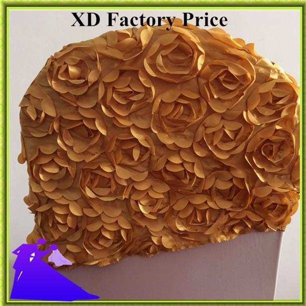 Marious Brand Golden Top sale 30*45cm rosette Floral wedding chair hood spandex hood decoration free shipping