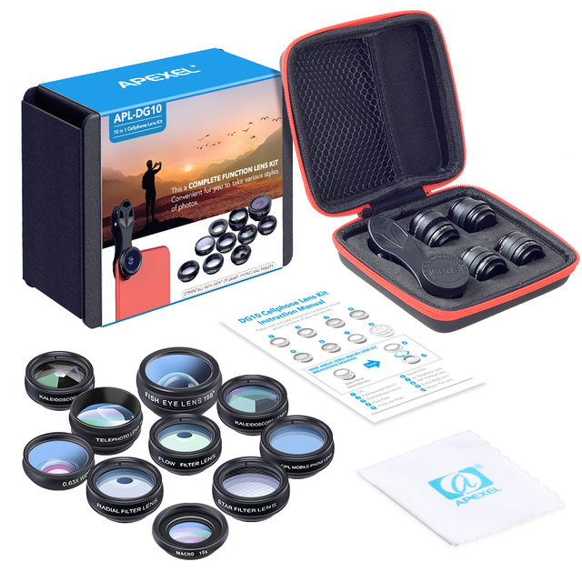APEXEL 10in1 CellPhone Camera Lens Kit Wide Angle&Macro Lens+Fisheye Lens Telephoto Lens CPL/Flow/Star/Kaleidoscope for phones 5