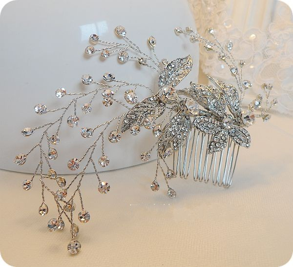 Dower me Shiny Crystal Bridal Hair Vine Comb Rhinestone Wedding Accessories Handmade Headpiece