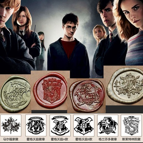 Harry Potter Wax Seal stamp Hogwarts Crest Gryffindor Slytherin Malfoy house LOGO + one piece sealing wax high quality fan gift 2pcs lot harry potter series death eater mask halloween horror malfoy lucius resin masks toy private party cosplay toys gift